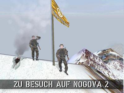 Dr.Pepper und Haretuerk hissen auf dem höchsten Berg Nogovas ihr Banner